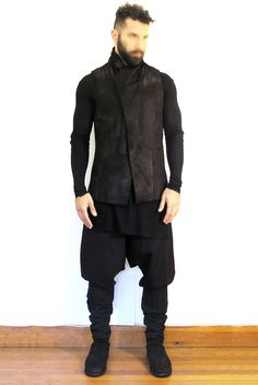 Baby Calf Vest - JULIUS Cotton Cashmere Long Sleeve Shirt - DAMIR DOMA Druze Trowsers - DAMIR DOMA Reverse Horse Leather Back Zip Boots - GUIDI
