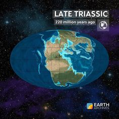 Pangaea began to rift apart by the Late Triassic seen here 220 million years…