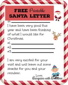 free printable santa letter