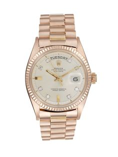 Rolex Rose Gold & Diamond Oyster Perpetual Day-Date Watch, 35mm
