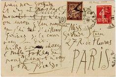 postcard. picasso to gertrude stein. 1915.