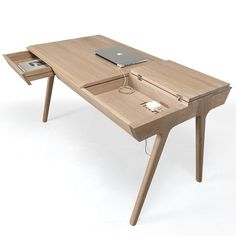 """This desk comes with a few secrets. Complete with wire management, Metis features three drawers and one """"secret compartment""""..."""