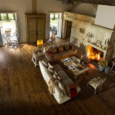 A very rustic feel ... love this living room.