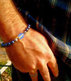 Mens BOHO, MALA Bracelet ,Genuine Opal stone & Hematite gemstone #Handmade #Beaded