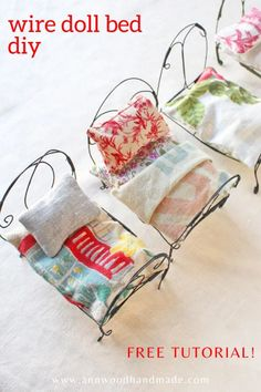 little dolls wire doll bed diy ann wood handmade Miniature Crafts, Miniature Dolls, Miniature Tutorials, Diy Doll Miniatures, Miniature Houses, Muñeca Diy, Diy Bett, Ann Wood, Doll Beds