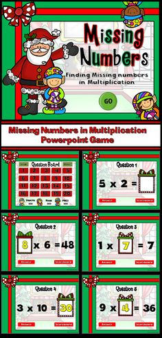 Who doesn't loves elves? How about elves with competition! Play the fun, engaging games where up to 3 teams compete against each other to determine the missing number in a multiplication problem.There are 20 questions and you just click on each question to go to it. The question disappears after you've clicked on it so you know you've answered it. There is a type-in scoreboard.  The scoreboard can be typed in during Slideshow Mode. Great for a whole class math activity or rainy day activity.
