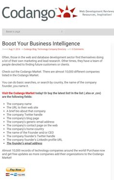 Reach 10,000 tech companies! http://codango.com/boost-your-business-intelligence/