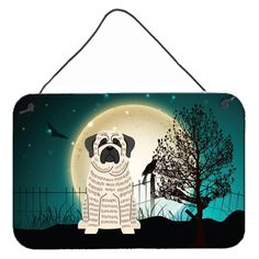 Halloween Scary Mastiff Brindle White Wall or Door Hanging Prints BB2206DS812