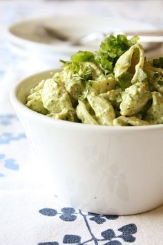 creamed avocado and lime chilled pasta by tabatha