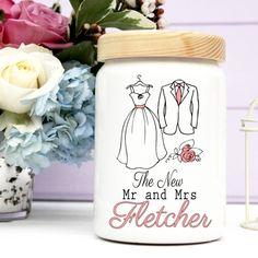 Wedding Gifts  Personalised Wedding Day Ceramic Jar Money Box Gift Honeymoon New Home Fund. A wonderful wedding day gift from www.cinnamonbay.co.uk Wedding Day Gifts, Wedding Ideas, Honeymoon Fund, Ceramic Jars, Money Box, Personalized Wedding Gifts, Ceramics, Gift Ideas, Mugs