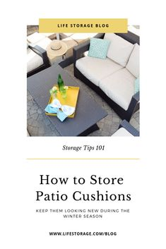 Do you need help storing outdoor cushions? This guide will teach you how to store patio cushions so they don't get moldy. Patio Cushion Storage, Patio Cushion Covers, Pillow Storage, Fabric Storage, Smart Storage, Storage Hacks, Bag Storage, Outside Cushions, Patio Cushions