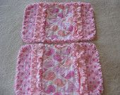 2 New Pink and Peachy Whales Baby Girl Burp Cloths with Minky backing