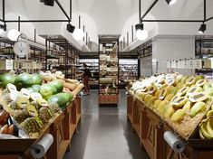 Location: Gasworks, Newstead QLD Year: Completed 2013 Client: The Standard Market Company Photography by Toby Scott Fruit And Veg Shop, Restaurant Hotel, Grande Distribution, Supermarket Design, Food Retail, Green Bar, Hospitality Design, Shop Interiors, Retail Design