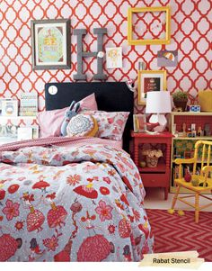 the loveliest little girl s room using the rabat stencil, bedroom ideas, paint colors, painting, wall decor
