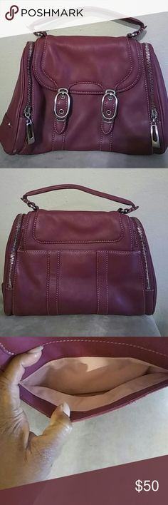 Cole Haan Alexa Purse Has a total of 4 pockets. 2 on the side, one inside and one on the back. Dark pink with silver zippers and fasteners. Light pink inside. Never used. Cole Haan Bags Hobos
