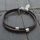 Leather Bracelet with Silver Charm - Gemwaith wyn jewellery