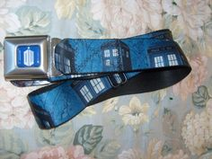 DR WHO TARDIS PHONE BOX SEAT BELT STYLE ADJUSTABLE POLYESTER BELT SPENCER'S OSFM…