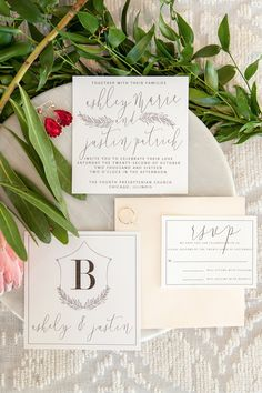 clean and modern calligraphy wedding invitation suite.