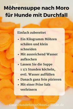 Can dogs eat carrots? Raw, as a carrot soup or pelle-Dürfen Hunde Möhren essen? Roh, als Karottensuppe oder Pellets : GutesHundefutterOhneGetreide.de soup after Prof. Ernst Moro for With soup - All Dogs, I Love Dogs, Dogs And Puppies, Puppies Tips, Can Dogs Eat Carrots, Carrot Soup, Dog Eating, Raw Food Recipes, Dog Treats