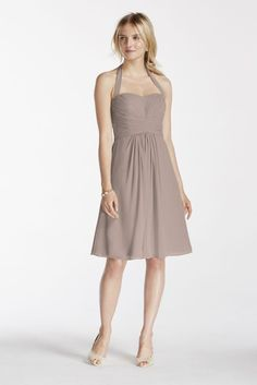 Chiffon Short Extra Length Halter Bridesmaid Dress with Pleated Detail - Biscotti, 2