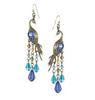 "Peacock Earrings $14.99 You will be certain to make a statement with these!! LOVE THEM!!   Burnished brass with faux stones, beads and rhinestone accents. Pierced, 3"" L"