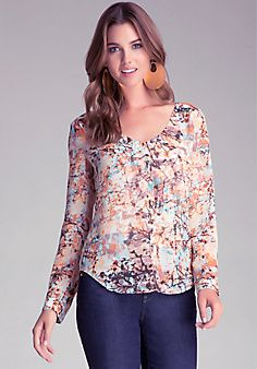 Print Button Up Blouse