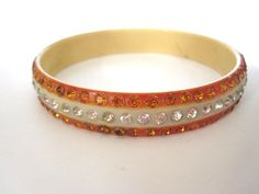 Celluloid Rhinestone Bracelet With Rows of Orange