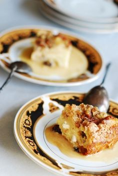 White Chocolate Bread pudding with whiskey cream sauce