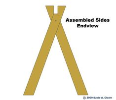 Assembly of the two sides of the sidehorse, end view. Sawhorse Plans, Folding Sawhorse, Woodworking School, Woodworking Workshop, Woodworking Techniques, Woodworking Projects, Craftsman Sheds, Wood Shop Projects, Diy Garage Storage