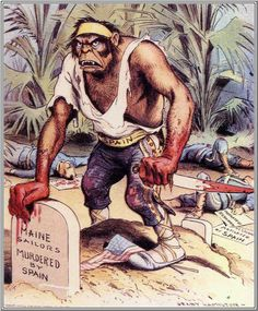 American propaganda illustration/poster during the war with Spain for Philippines (1898)