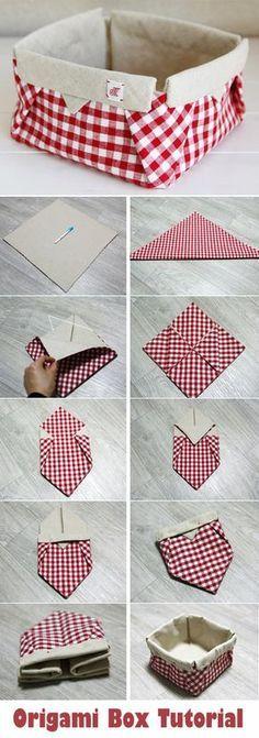Fabric Origami Box. DIY tutorial fabric basket. http://www.handmadiya.com/2015/10/fabric-origami-box-tutorial.html