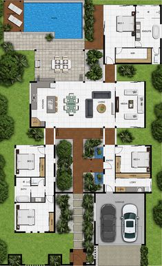 sims 4 houses no cc Sims House Plans, Family House Plans, New House Plans, Dream House Plans, Modern House Plans, Modern House Design, House Floor Plans, Modern Houses, Modern Architecture House