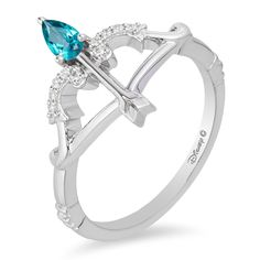 Enchanted Disney Merida Pear-Shaped Blue Topaz and CT. Diamond Bow and Arrow Ring in Sterling Silver - Size 7 Disney Princess Engagement Rings, Disney Wedding Rings, Silver Engagement Rings, Diamond Bows, Diamond Jewelry, Gold Jewelry, Silver Bracelets, Beaded Bracelets, Colar Disney