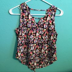 Multicolored Floral Tank Strap and v details in back and front Lush Tops Tank Tops