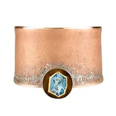 Atelier Zobel at Patina Gallery. Bracelet, Munsteiner-cut Aquamarine, Champagne Diamonds, Blue Diamonds, 24K, 22K & 18K Yellow Gold, Rose Gold