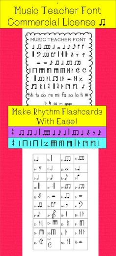 Music Teacher Font is a font I have hand drawn for music teachers and classroom teachers to use to make music projects with ease. This font is available for free in my store for personal use only, or available for purchase for commercial use. Within the font I have created standard notation, as well as Kodaly Stick Notation.