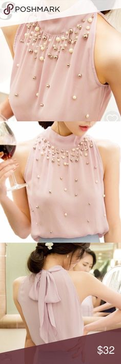 Elegant halter top with pearls New. Stunning chiffon halter blouse with pearls. Size small, color best depicted in the last photo. Thank you for visiting my closet, please feel free to ask questions. I offer great discounts on bundles  lucy6mahon Tops Blouses