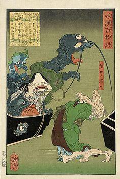 Greedy Old Woman with a Box of Demons  Tsukioka Yoshitoki, 1865  The Los Angeles County Museum of Art