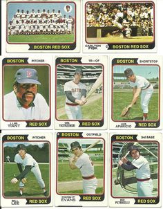 Vintage 1974 RED SOX Topps 26 cards partial set lot 4 HOFers, team card Vg-Ex #BostonRedSox
