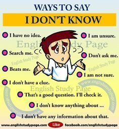 Other ways to say I don't know english. Other ways to say I don't know in English Learning Spoken, Learn English Grammar, English Writing Skills, Learn English Words, English Language Learning, English Study, Education English, English Lessons, English English