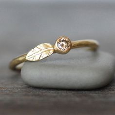 Natural Diamond and Gold Wedding Ring - 3mm Diamond Ring - Leaf and Bud Engagement Ring - Choose 14k OR 18k Gold