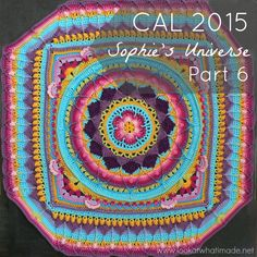 Sophie's Universe is a 20-week mystery crochet-along that will yield a continuous square blanket.