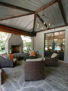 Love the metal roof! Contemporary Patio Design Ideas, Pictures, Remodel and Decor Back Patio, Patio Roof, Backyard Patio, Small Patio, Rooftop Patio, Pergola Roof, Side Porch, Diy Patio, Front Porch
