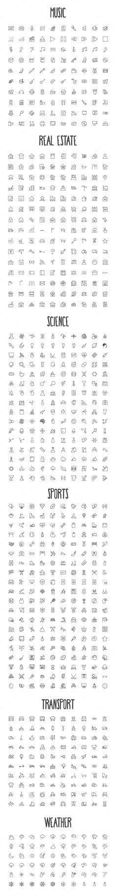 2440 Hand Drawn Doodle Icons Bundle