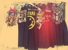 Classic rock tees turned into dresses