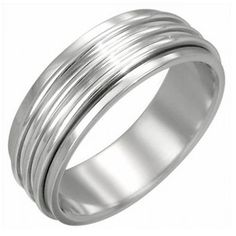 Style Sanctuary - Stainless Steel Ring with Ribbed Spinning Centre, Buy Rings, Spinner Rings, Titanium Rings, Wood Rings, Rings Online, Stainless Steel Rings, Fashion Rings, Rings For Men, Fashion Accessories