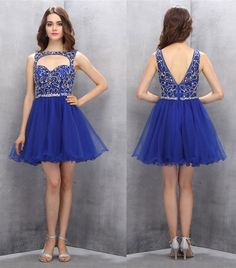 A-line Homecoming Dresses,Beading Homecoming Dresses,Organza Homecoming Dress,Royal Blue Prom Gown,Short Prom Dresses,Pretty Sweet