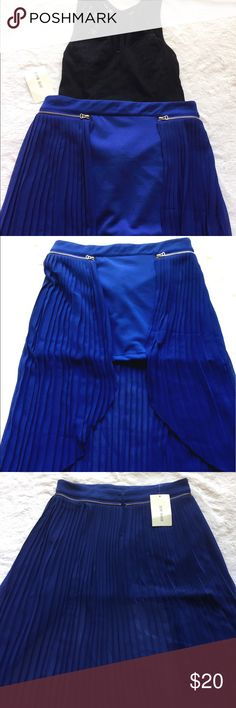 """NWT Blue high low mini skirt Gorgeous blue skirt. Perfect for a night out! Mini tight mini skirt with high low pleated skirt over it. Invisible zipper in back. Gold zipper detail (not functioning zipper). Tag says large but I would say S/M.                                                                       Measurements:                                                                      13"""" length for mini and 26"""" at the longest. 14"""" waist laying flat Skirts High Low"""