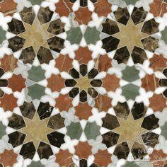 Granada Grande stone waterjet mosaic shown in Emperador Dark, Verde Luna, Rosa Verona, Calacatta Tia, Giallo Reale polished