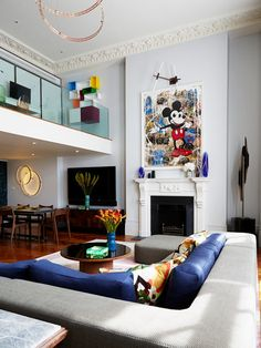 Contemporary Living Room with Palladian mantel by Violet & George